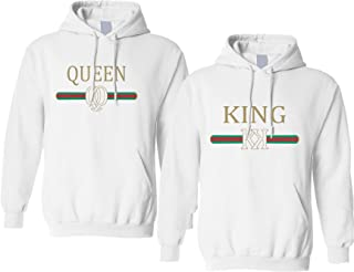 white king and queen hoodies