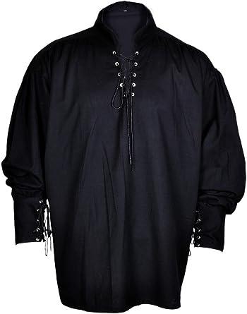 Renacimiento Ocasional de la Camisa del Verano del Pirata Colores Blanco y Negro Traje Medieval Hombres Todos los tamaños
