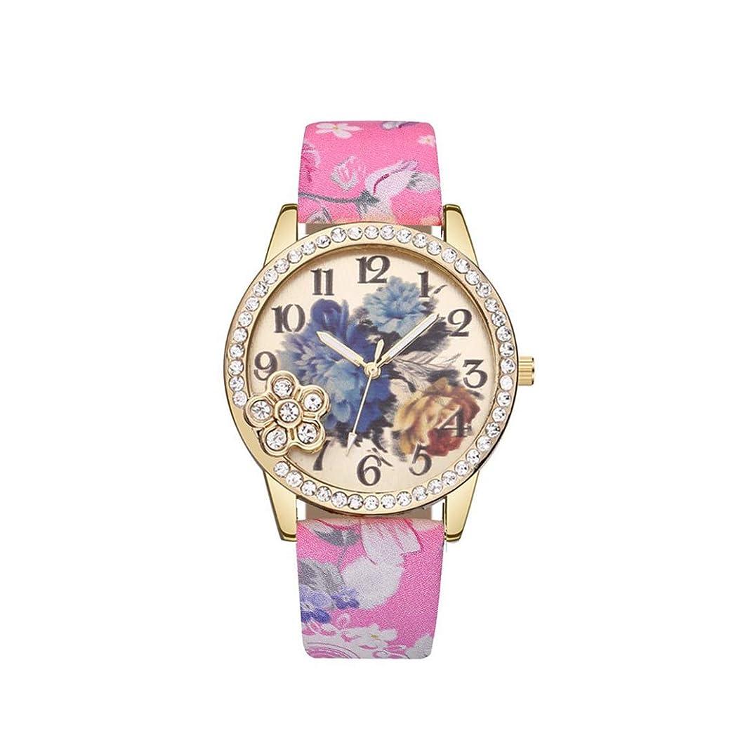 導出競合他社選手怖い女性用レディースレザーストラップクォーツ時計用女性用ラインストーン時計