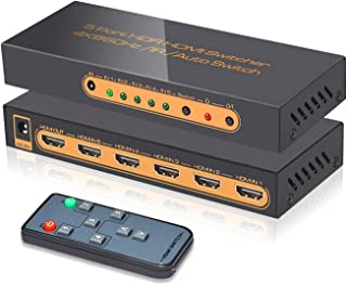 (Upgraded) SkycropHD 4K@60Hz 5 Port HDMI Switch with Remote 5 in 1 Out 4Kx2K HDMI Auto Switcher, Support HDR10, Dolby Visi...