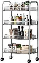 TAIDENG Regał do przechowywania kuchnia stojak na warzywa, 4-warstwowe wózki, ruchome półki, półki na koła, kosze siatkow...