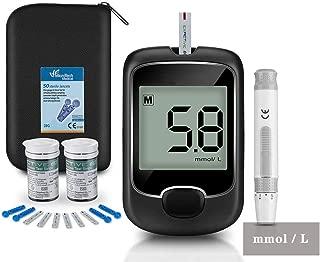 Blood Glucose Meter Kit, Glucose Monitoring Kit Diabetes Testing Kit with 50 Test Strips, 50 Lancets to Test Blood Sugar Level,Mmol/L