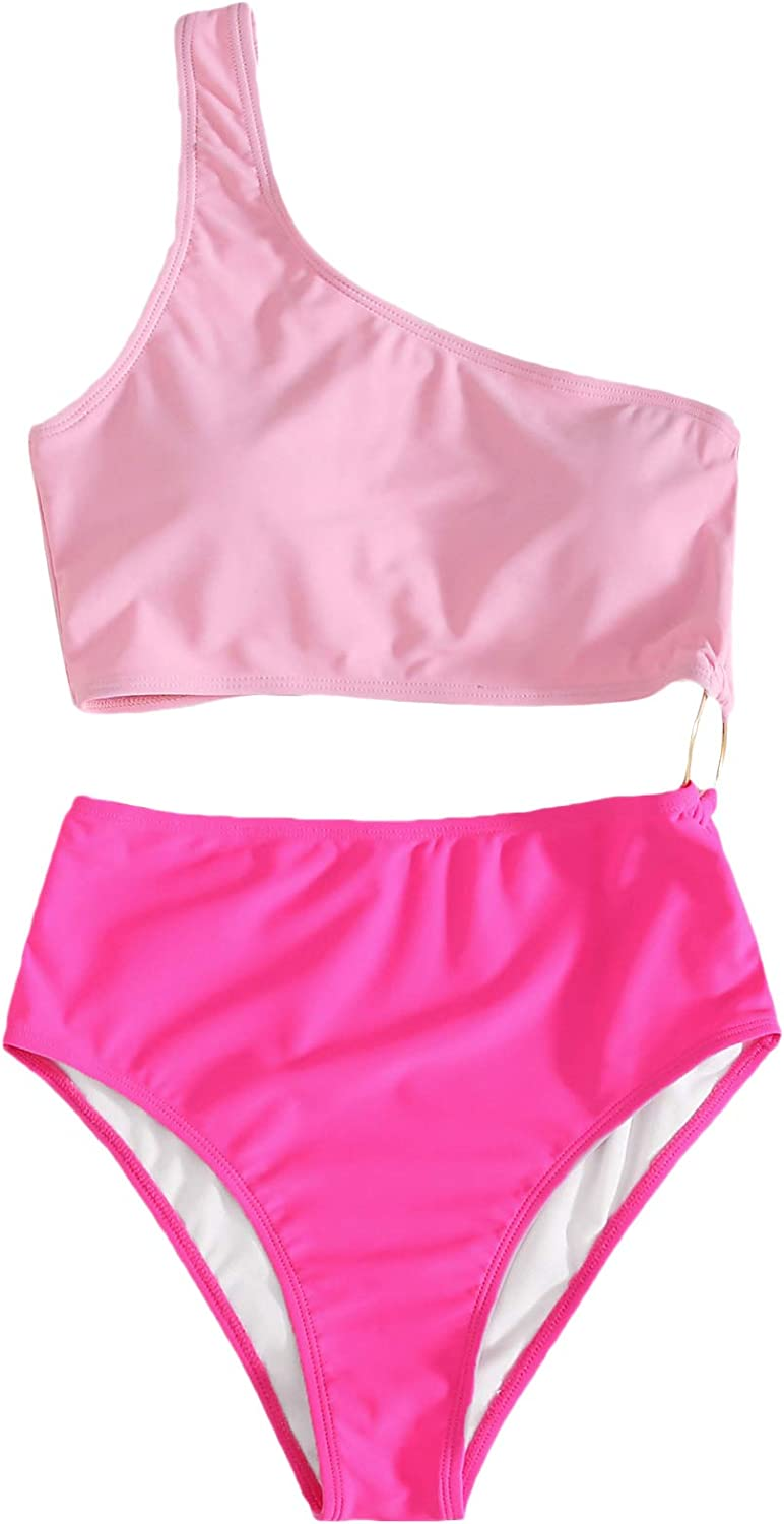 SheIn Women's Color Block One Shoulder High Waisted Cut Out One Piece Swimsuits