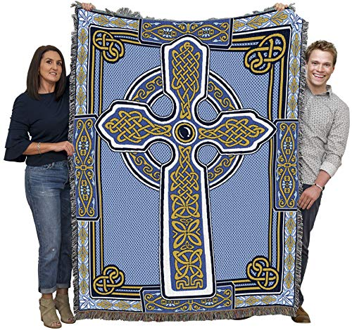 Celtic Knots Cross Blue Blanket Throw Woven from Cotton - Made in The USA (72x54)