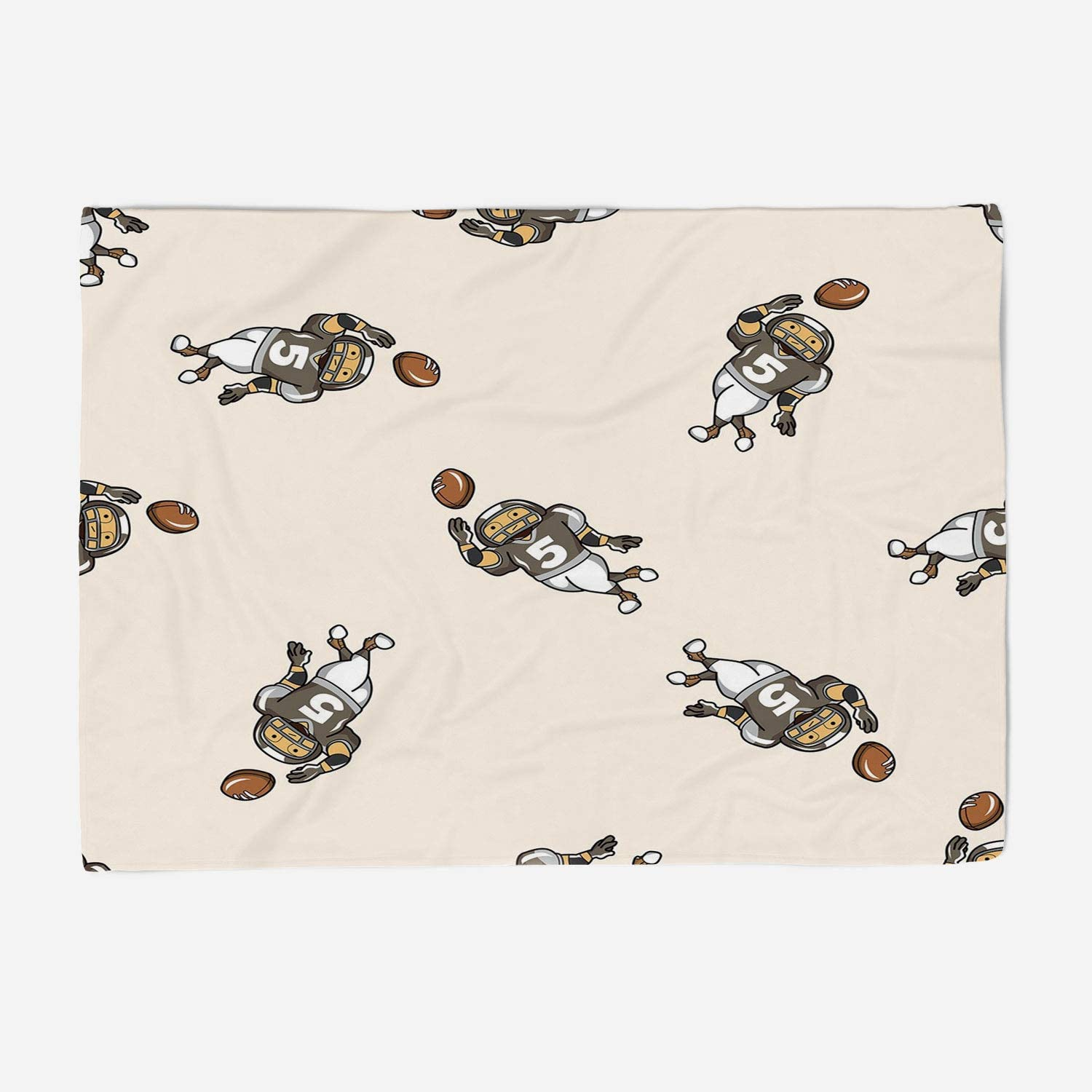 YOLIYANA Microfiber Throw Blanket Set Perfect for Couch Sofa or Bed 59x49 inches Football,Pattern of Cartoon Player Running with The Ball Training for The Game Rugby Decorative,Taupe Brown White