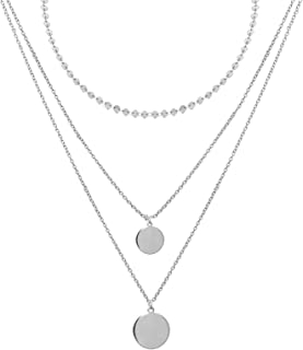 Women's Gold Plated Necklaces,Double Layered Paperclip Chain Link Disc Coin Pendent Choker Necklace Ideal Gifts for Her