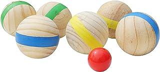 木製の球戯ボール、屋外ボッチャゲーム、球戯セット、ペタンクガーデンゲーム、7cm - ランダム