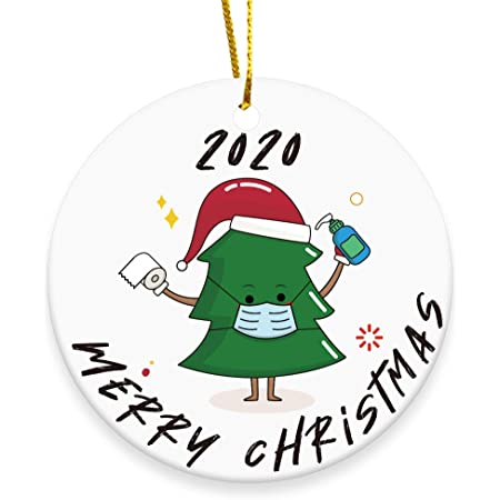 2020 Merry Christmas Ornaments Gift, Cute Chrstmas Tree - Xmas Tree Ornament Hanging Accessories - 3 INCH Round Ceramic Holiday Home Decor