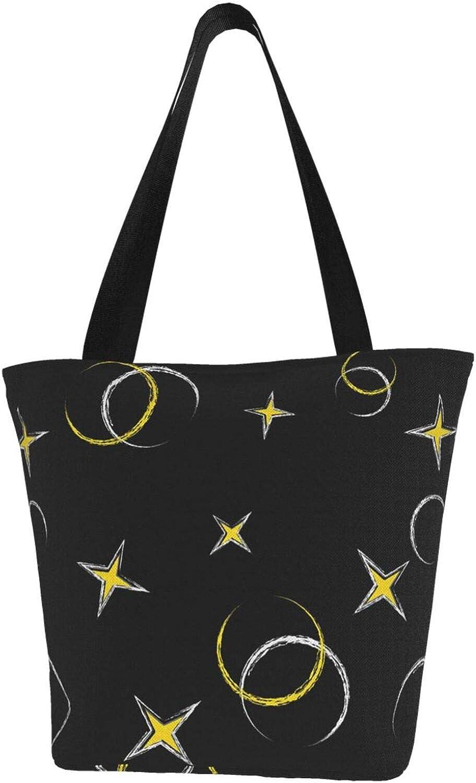 Moon Zodiac Constellation Charm Stars Themed Printed Women Canvas Handbag Zipper Shoulder Bag Work Booksbag Tote Purse Leisure Hobo Bag For Shopping
