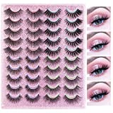 MAANGE Eyelashes, 4 Styles Mixed Lashes Pack Fluffy Reusable Fake Eyelashes, 20 Pairs 3D Handmade Natural Dramatic False Eyelashes (G20-1)