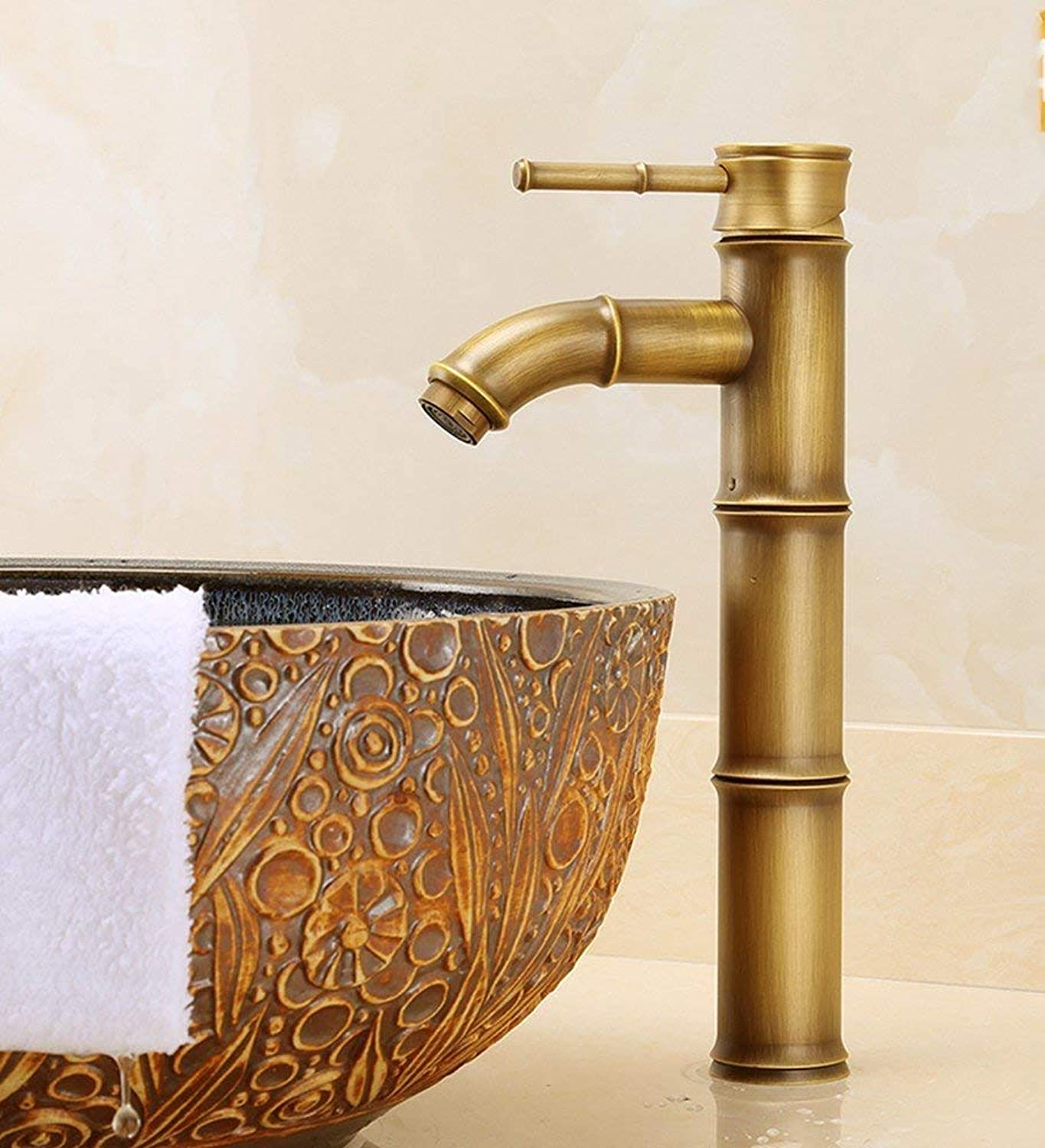 Oudan Basin Mixer Tap Bathroom Sink Faucet European retro style, copper, hot and cold, bamboo, Single Hole basin, hand wash in the sink mixer 6 (color   3)