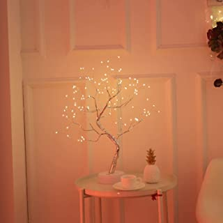 Night Light ,U-HOOME Table Lamps Upgraded Copper Wire Tree Branch Decorative No Heat Lights,USB&Battery Powered,108 Warm W...