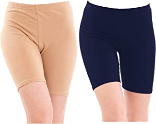 Pixie Biowashed 220 GSM Cotton Lycra Cycling Shorts for Girls/Women/Ladies Combo (Pack of 2) Beige and Navy Blue - Free Size