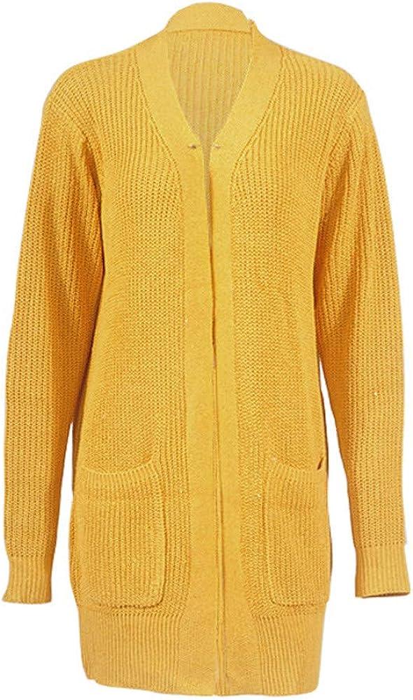 FRAUIT Damen Winter Kaschmir übergroße Pullover Kleid Gestrickte Mode-Frauen-Lose Lange Pullover Hülsen-Feste Taschen-Wolljacken-Oberseiten-Strickjacke strickte Mantel Gelb