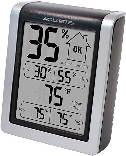 AcuRite 00613 Indoor Thermometer Hygrometer With Humidity Gauge 3 H X 2 5 W X 1 3 D