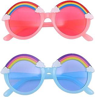 Amosfun - Gafas de sol para niños de verano, color rosa, arco iris, para niños, niñas, resistente a los rayos UV, 5 unidades, colores mezclados