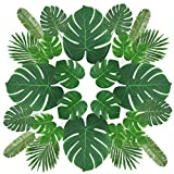 Zorara Artificial Palm Leaves, 29PCS Tropical Palm Leaves Monstera Leaves with Stems Simulation Safari Leaves for Hawaiian Luau Party Jungle Beach Theme Party Table Leave Decorations