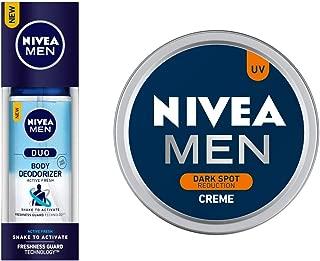 NIVEA MEN Body Deodorizers, Duo Active Fresh, Gas Free,100ml and NIVEA MEN Cream, Dark Spot Reduction, 30ml