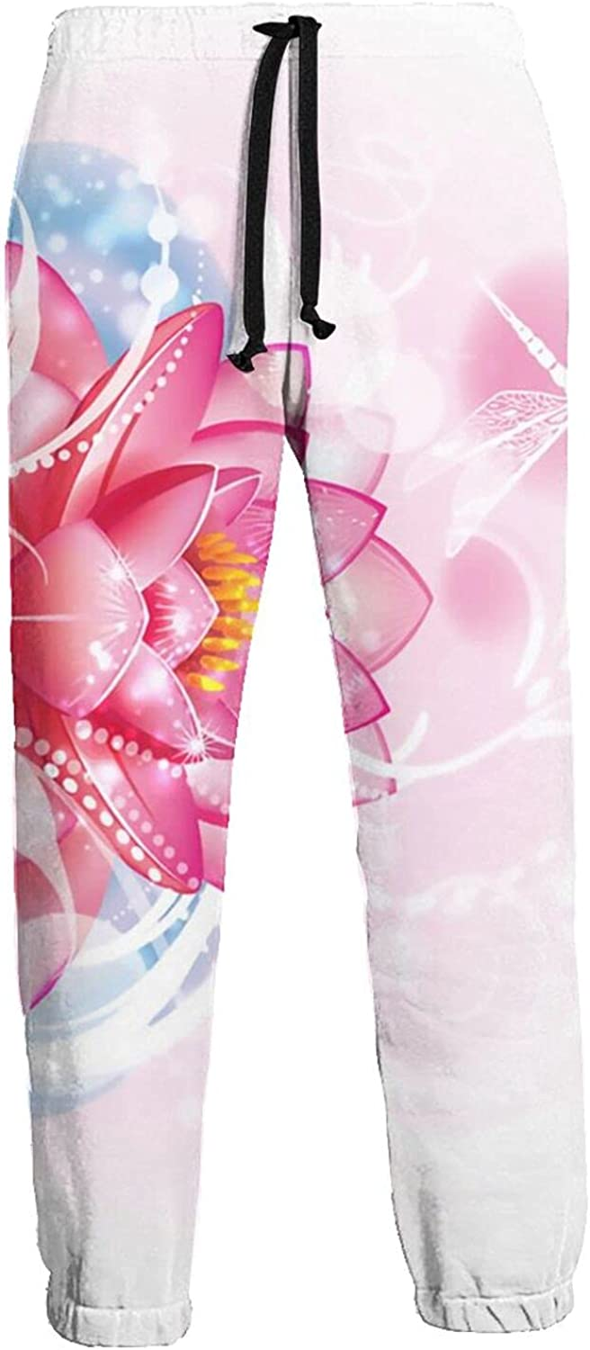 Active Sweats Jogger Pants Pink River Flowers Dragonfly Running Joggers Casual Sweatpants for Men Women