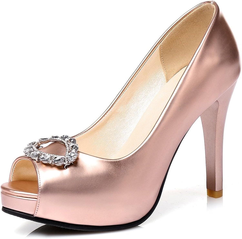 DecoStain Women's Fashionable Peep Toe Metallic Decoration Slip-on Platform High Thin Heels Working Wedding Stiletto Pumps