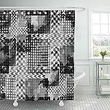 Stoff Duschvorhang mit Haken Abstraktes modernes Design gestreift mit Hahnentritt- & Aquarelleffekt & dekorativem Badezimmer mit schwarzem Teppich, behandelt, um einer Verschlechterung durch Mehlt
