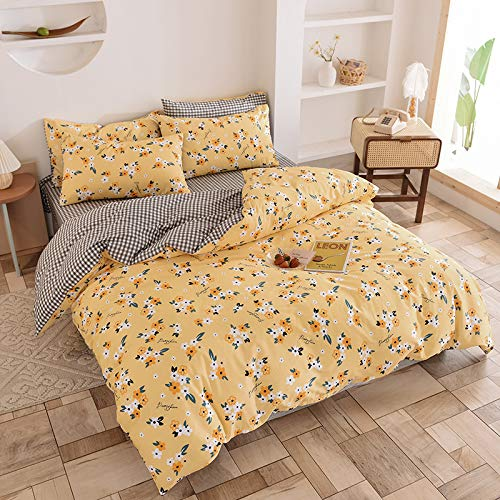 CYGJ Three-piece or four-piece set of hypoallergenic cotton and comfortable beddingYellow flowers2.0m four-piece set