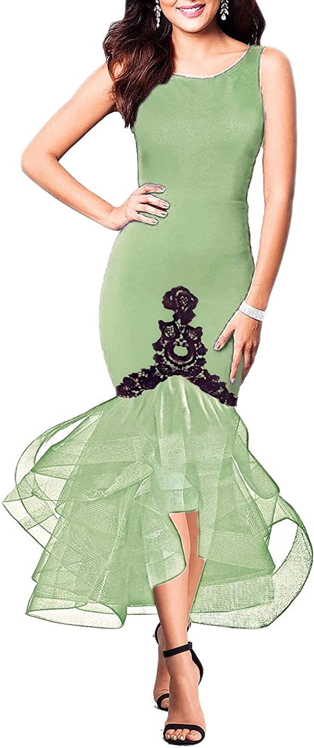 CAISHA Women's Opened Back Mermaid High Low Layered Tulle Pencil Dress