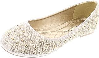 Gold Toe Karma Womens Sparkle Dress Shoes,Cute Rhinestone Ballet Flats Women, Wedding Bridal Flat Dressy Shoe