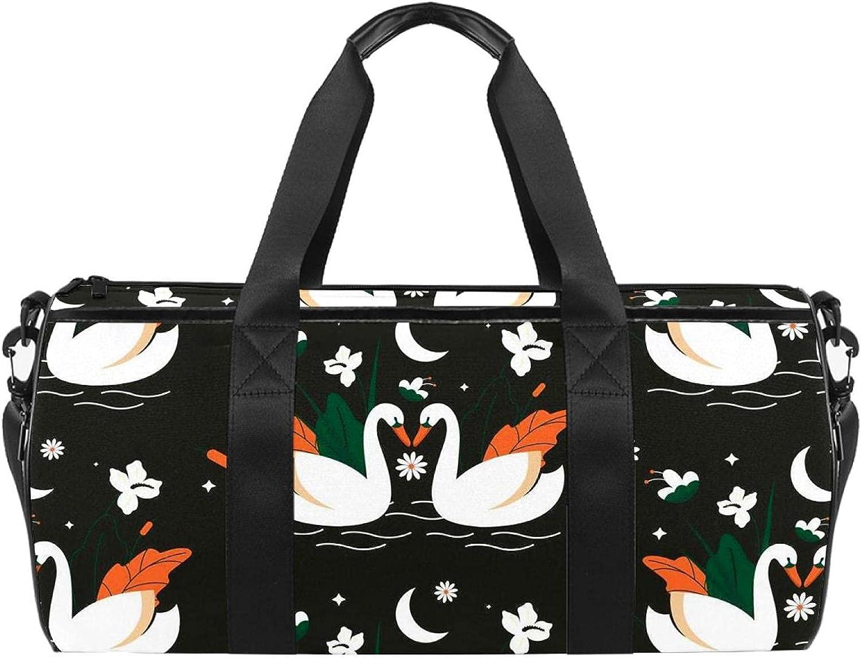 Swan Black Pattern Sports Gym Popular popular Travel Bag Cylindrical Duffel San Francisco Mall bag