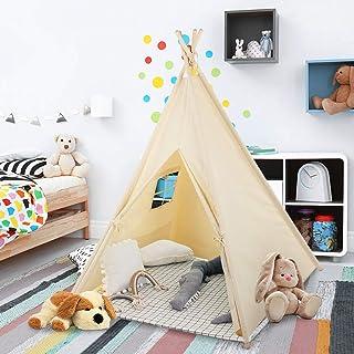 Greensen Lektält för barn, naturlig bomullsduk barn indisk tipsi-tält, 4 stänger lekstuga leksak för inomhus och utomhus, ...