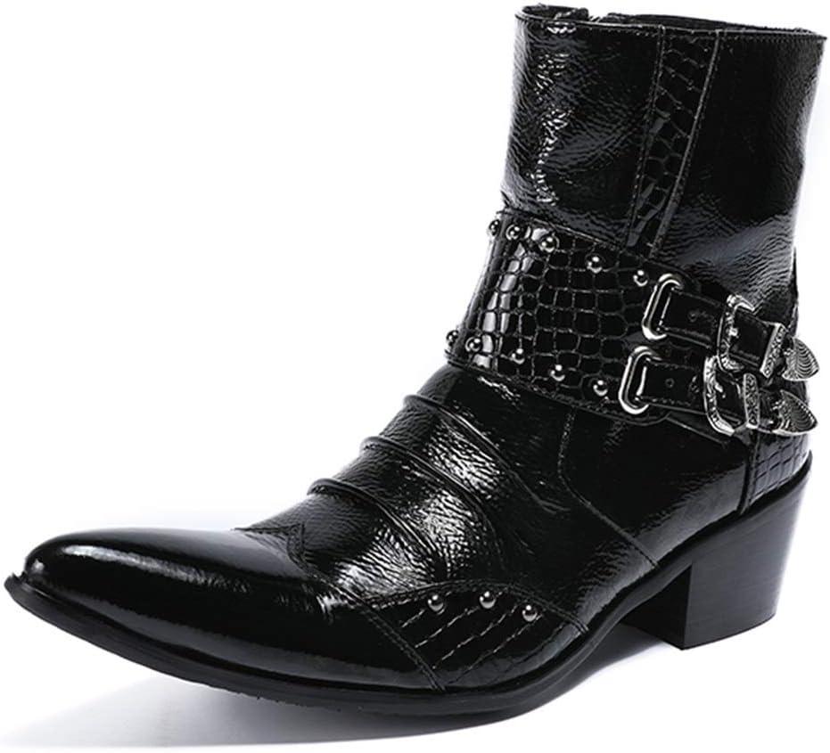 Rui Landed Bota de Tobillo para Hombre Bota de Bota Superior Alta Estilo Elegante Remaches exquisitos de Cuero Hebillas de Lujo Discoteca (Color : Negro, tamaño : 46 EU)