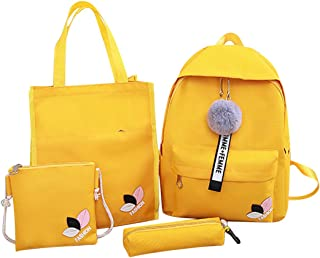 COAFIT Student's School Backpack Set Travel Daypack with Tote Bag & Pen Case (Yellow)