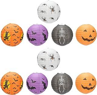 Lurrose Halloween Paper Lanterns, 10pcs Pumpkin Paper Lantern Spider Bat Skeleton Lantern Halloween Party Lanterns for Hal...
