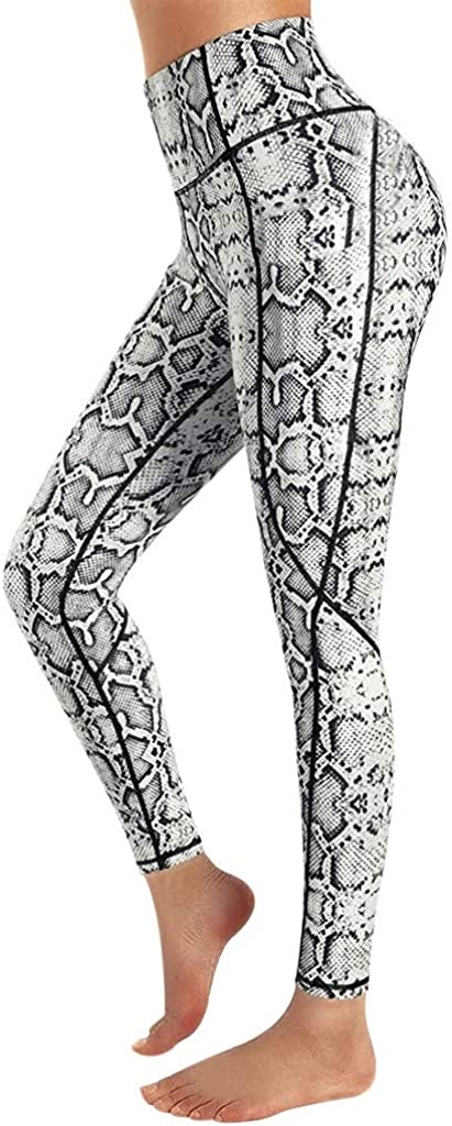 Women's High Waisted Yoga Pants with Side Pockets Leopard Print Workout Leggings Running Pants Activewear