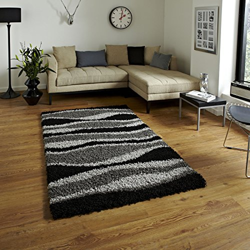 Bravich RugMasters Extra Large Black and Grey Wave Pattern Wavy Design Mix Super Soft High Deep Pile Luxury Shaggy Area Rug/Living Room Rug Carpet 160 x 230 cm (5'3' x 7'7)