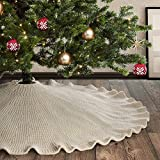 Meriwoods Ruffled Knit Tree Skirt 48 Inch, Chunky Knitted Tree Collar for Country Rustic Christmas Decorations, Cream White