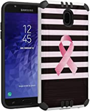 Capsule Case Compatible with Samsung Galaxy J7 2018 (J737), J7 Star, J7 Aero, J7 Refine, J7V 2nd Gen, J7 Crown, J7 Eon [Hybrid Dual Layer Silm Defender Case White] - (Breast Cancer Awareness)