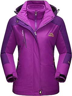Women's Outdoor 3-in-1 Water Resistant Skiing Snowboarding Jacket Fleece Warm Raincoat