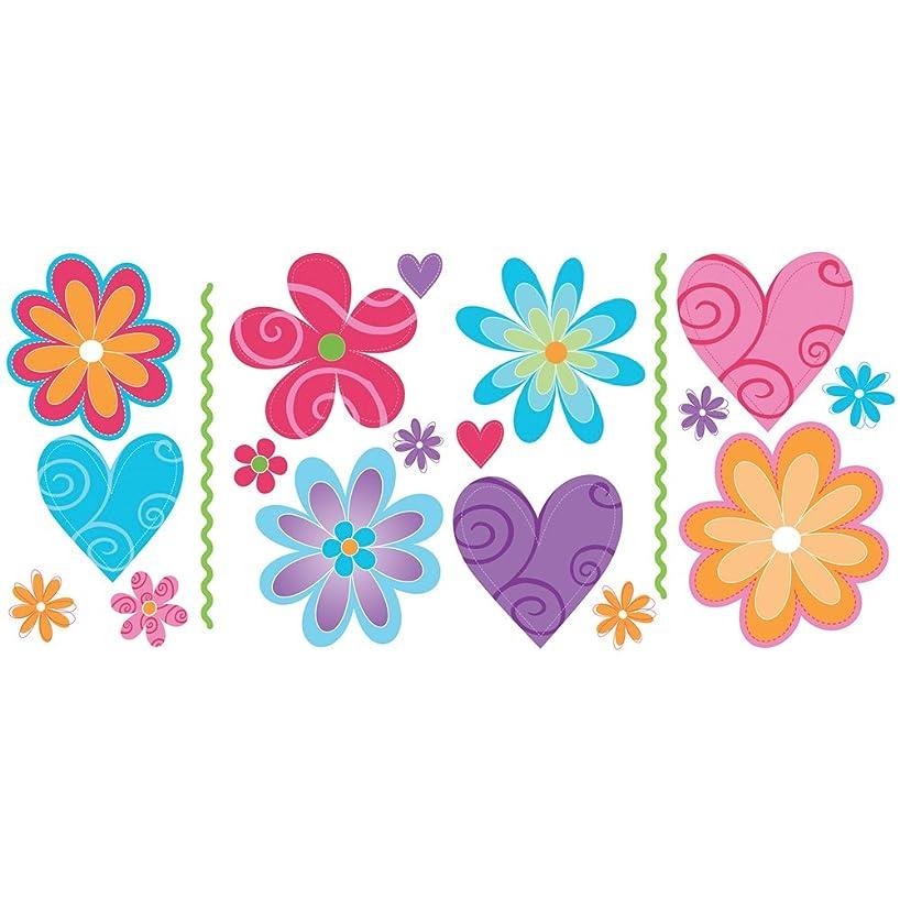 Blue Mountain Wallcoverings GAPP1772 Just for Kids Flirty Flowers Self-Stick Appliqué