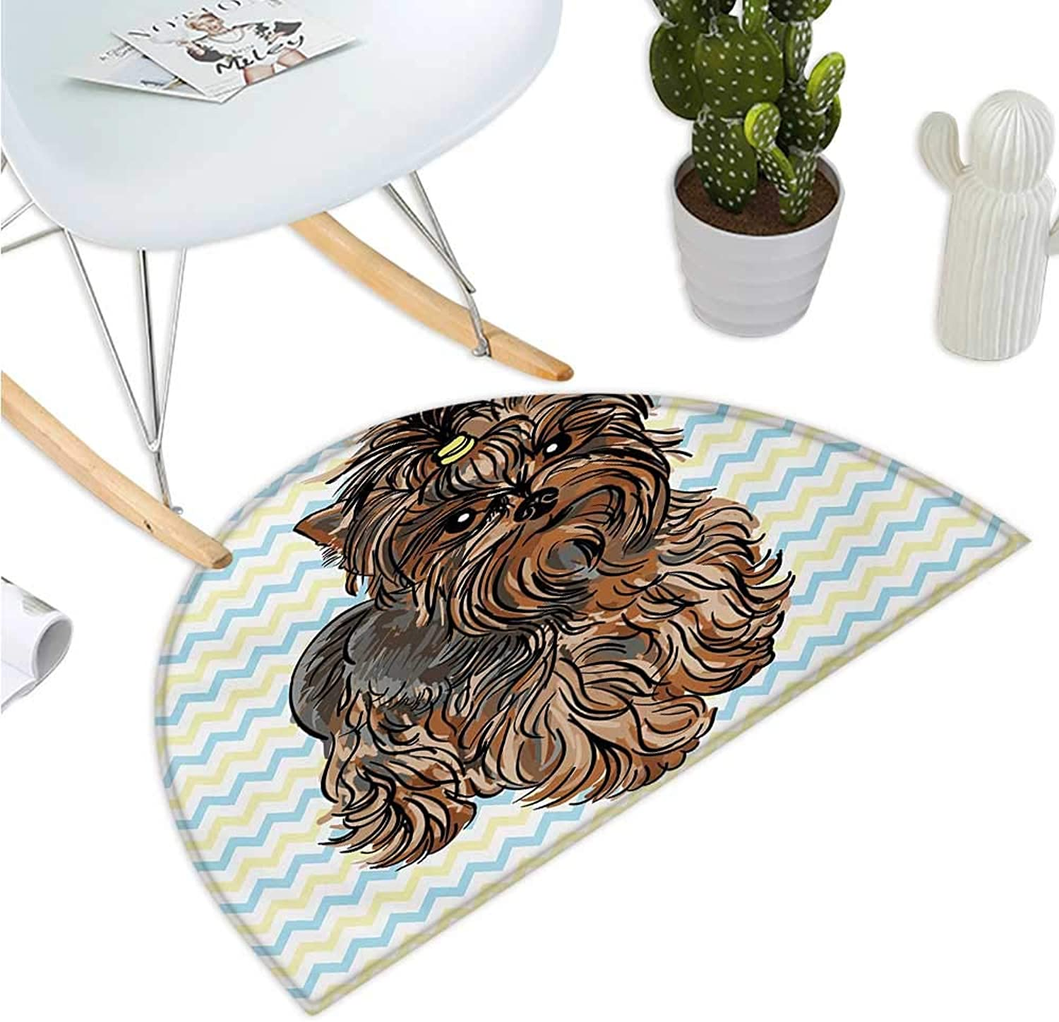 Yorkie Half Round Door mats Cute Brown Yorkie with Even Cuter Buckle on its Head Drawing on Chevron Backdrop Bathroom Mat H 51.1  xD 76.7  Chesnut Brown