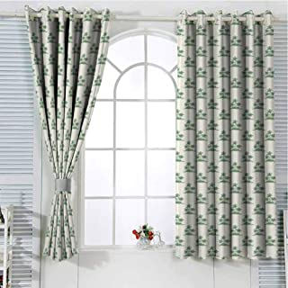 Jinguizi Grommet Window Curtain Black Out Window Curtain Palm Tree,Vintage Summer Forest in Green Exotic Island Relaxing Natural Landscape Art,Green Beige Curtain Holdback 84 x 72 inch