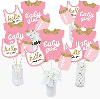 Hello Little One - Pink and Gold - Girl Baby Shower Party Centerpiece Sticks - Table Toppers - Set of 15