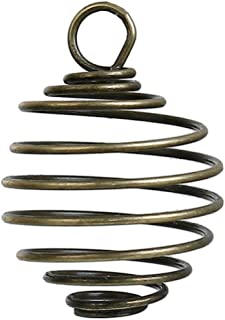 PEPPERLONELY 10pc Antiqued Bronze Alloy Spiral Bead Cage Charms Pendants 26x19mm (1