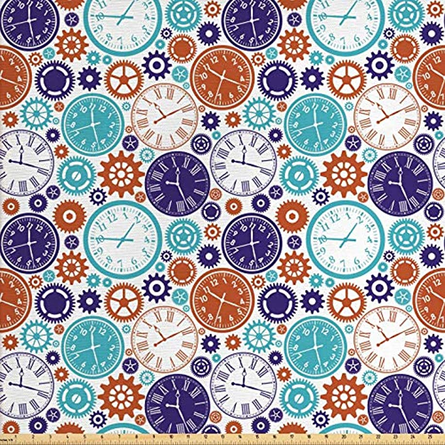 Ambesonne Clock Fabric by The Yard, Vintage Clock Mechanism Roman Numbers Hour and Minute Hand Pattern Print, Decorative Fabric for Upholstery and Home Accents, 2 Yards, Blue and Dark Orange