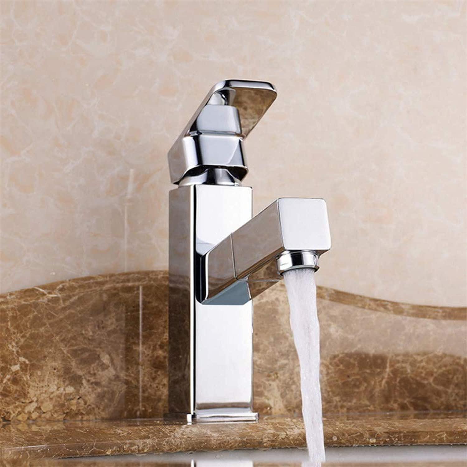 360° redatable Modern Faucetbasin Pull-Out Faucet Single Handle Single Hole Above Counter Basin Washbasin Bathroom Cabinet Wash Head Hot and Cold Water Faucet