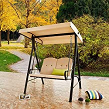 LOKATSE HOME 2-Seats Patio Swing with Adjustable Canopy Weather Resistant Steel Frame Outdoor Porch Converting Deck Furniture, Khaki