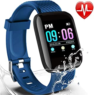 Smart Watch with Heart Rate Blood Pressure Monitor Fitness Tracker IP67 Waterproof 1.3 Color Screen Activity Tracker for Women Kids Men Sport Smart Bracelet Pedometer USB Port Charging