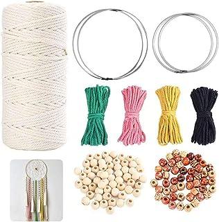Wuudi Makramee garn natürliche handgemachte DIY Craft String Stricken Baumwollgarn Handgemachter Baumwollfaden für handgemachte Enthusiasten 3mmx200m Mehrfarbig