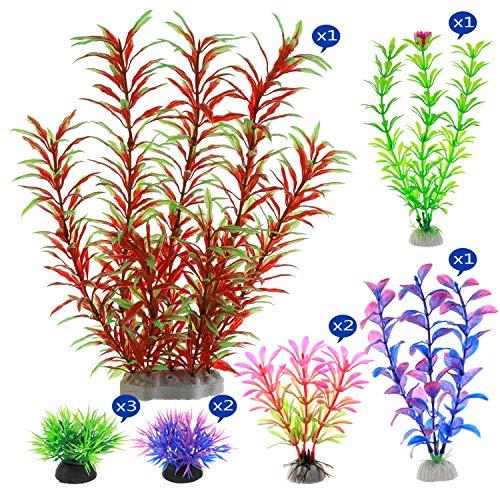 Alegi Künstliche Wasserpflanzen, 10 Stück Aquariumpflanzen, Kunststoffdekorationen für 10 bis 20 Gallonen Tischaquarium