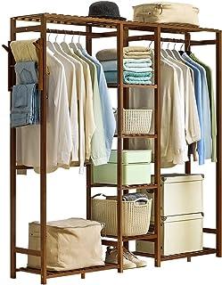 LOHOX 5 Niveaux Portemanteaux Portant Penderie à Vêtements en Bambou Porte Manteau avec Cintre Pantalon Etagères de Rangem...